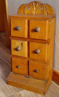 Antique Primitive Carved Pine 6 Drawer Spice Cabinet W/ Compartment Underneath Aromatic Character And Agreeable Taste
