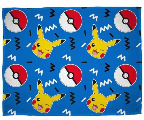 Pokemon Memphis Fleece Blanket Bed Throw Pikachu Pokeball Matches Bedding