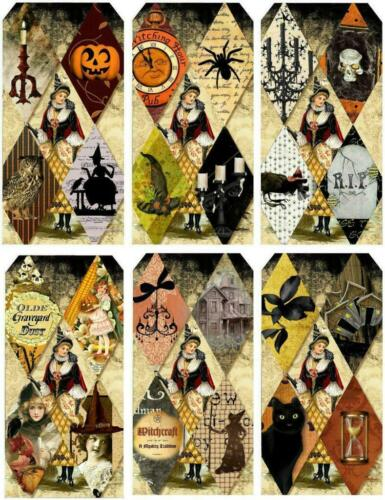 Crafts Harlequin Tag Shape Halloween Glossy Finish Card Making Topper