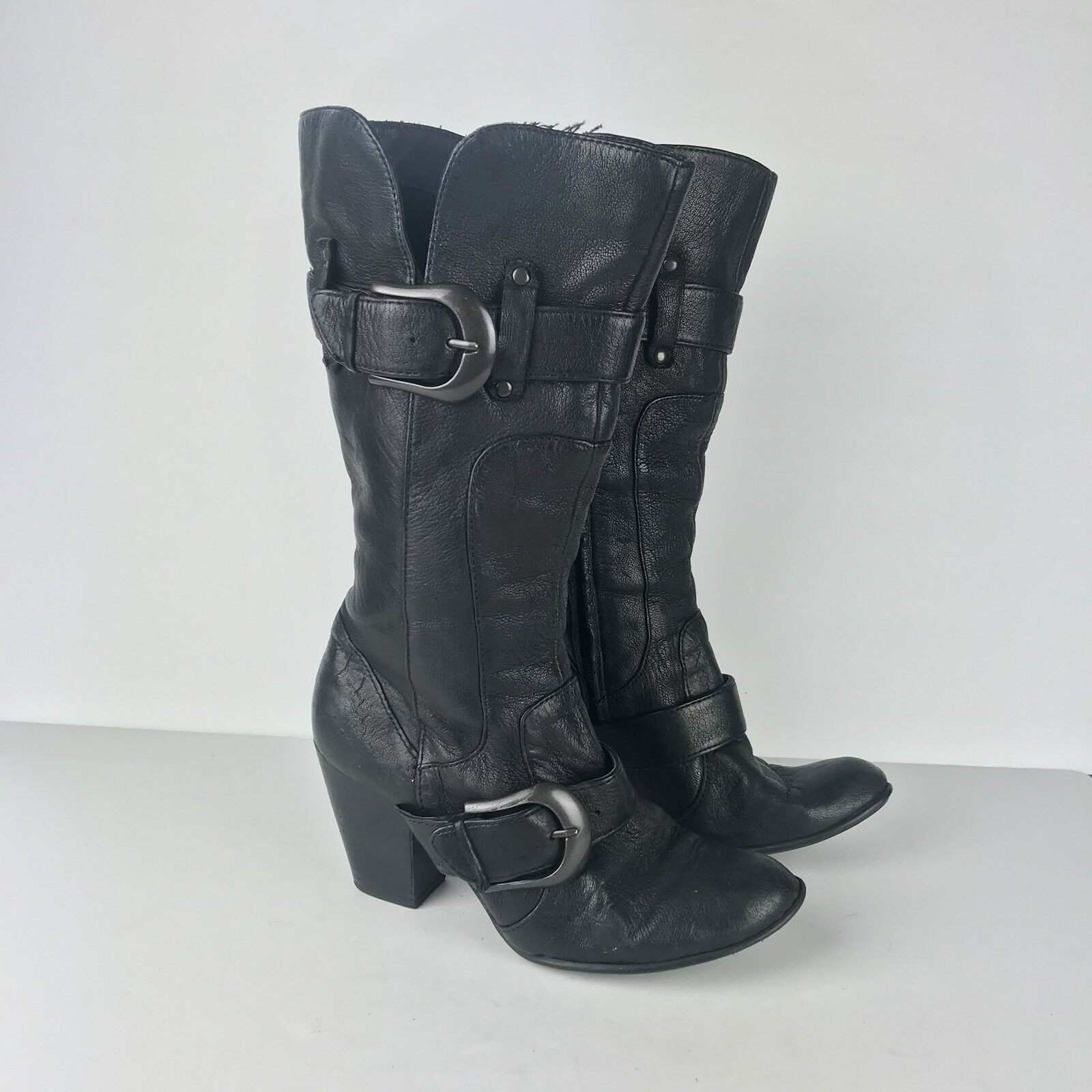"Born 7 38 Black Boot Tall Leather Buckle Heel Career Casual Side Zip 2 3/4"" Size"