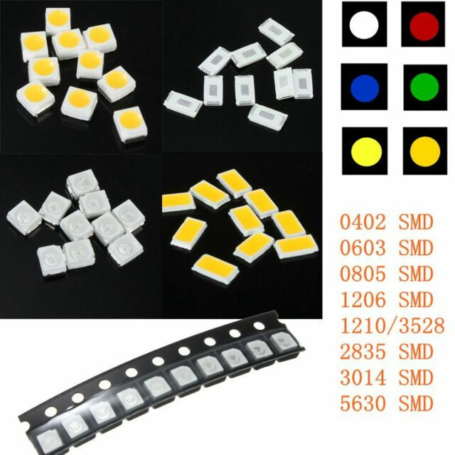 DIY Colors SMD SMT LED Light Chips 0402 0603 0805 1206 1210 3528 3014 2835 5630