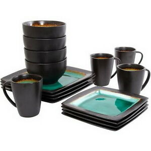 300f87feac7e Dinnerware Sets 32 Piece Crockery Set Dishes Service For 8 Turquoise ...