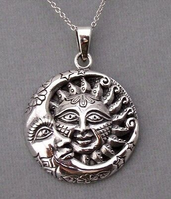 Sterling Silver Sun Pendant Necklace