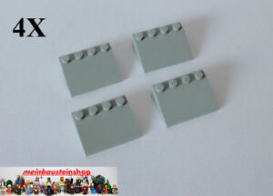 4x Lego ® 3297 Basic Réfractaire, Tuiles, Slope, Roof, 25 ° 3x4 Vieux Gris Clair-afficher Le Titre D'origine