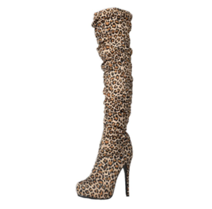 Women Leopard Pattern Over Knee Boots Pointy Toe Stilettos High Heel Party Shoes