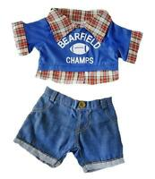 Checked Sports Football Top & Jeans Outfits Fits 15 (40cm) Build A Bear