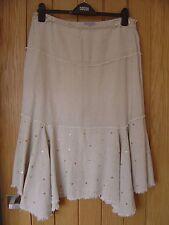 M & S Per Una Beige Sequin Skirt Size 14 Regular (Ref Z) Ex Con