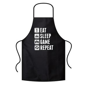EAT-SLEEP-GAME-REPEAT-Gamer-Zocker-Admin-Sprueche-Spass-Grillschuerze-Latzschuerze