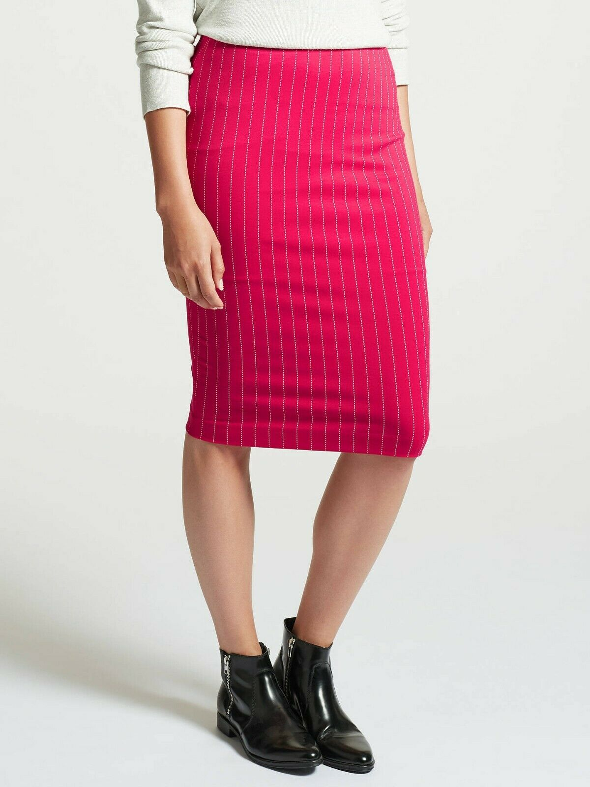 MARC CAIN Stretch Pinstripe Pencil Skirt Pink N4 RRP  US 10