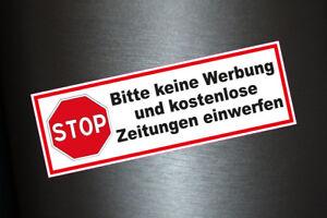 Details Zu 3 X Aufkleber Bitte Keine Werbung Und Kostenlose Zeitungen Einwerfen Briefkasten