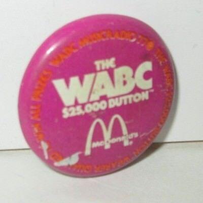 HTF Pinback! Vintage 1970s WABC Musicradio 77 $25,000 Button Pin McDonalds