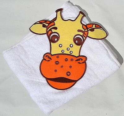 100 /% PURE COTTON Baby Hooded Bath towel ** WHITE HIPPO **