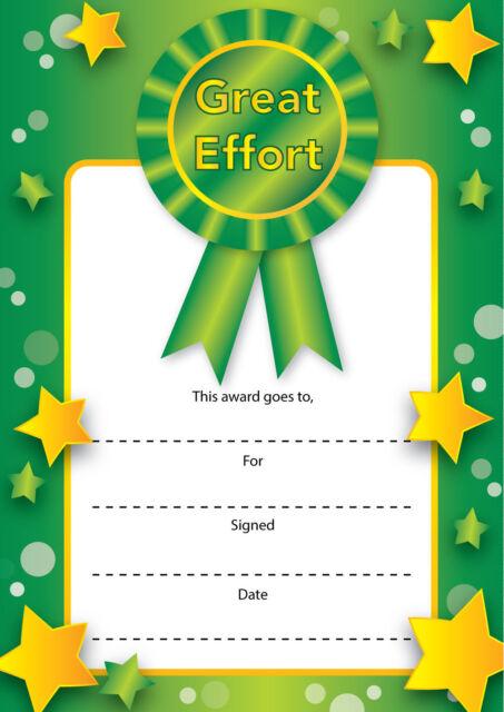 16 A6 Teachers School Nursery Reward Certificates \'great Effort ...