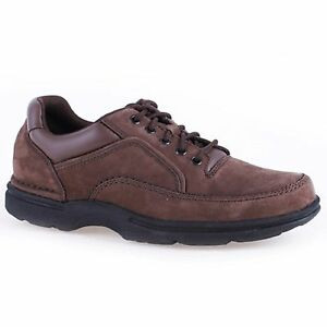 Image is loading Men-Rockport-EUREKA-K71202-Chocolate-Nubuck-Lace-Up-