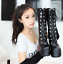 Womens-Punk-Platform-Wedge-High-Heel-Mid-Calf-Goth-Lace-Up-Boots-Round-Toe-Shoes thumbnail 9