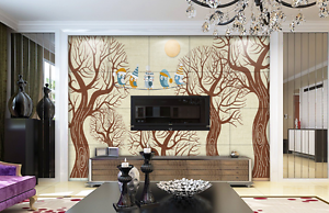 3D Brown Branches Birds Wall Paper Wall Print Decal Wall AJ WALLPAPER CA