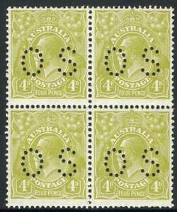 KGV-Small-Multi-Wmk-Perf-13-X-12-4d-Greenish-Olive-perforated-OS-block