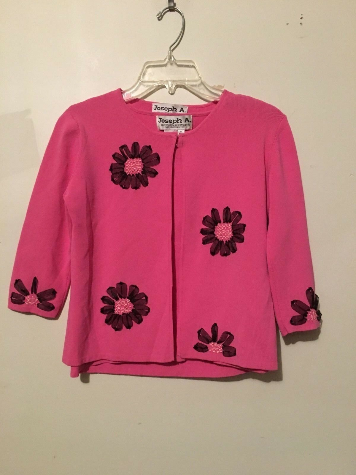 Joseph A Quest EstSilk 2 Piece Pink Floral Design Cardigan Sweater Women Size M