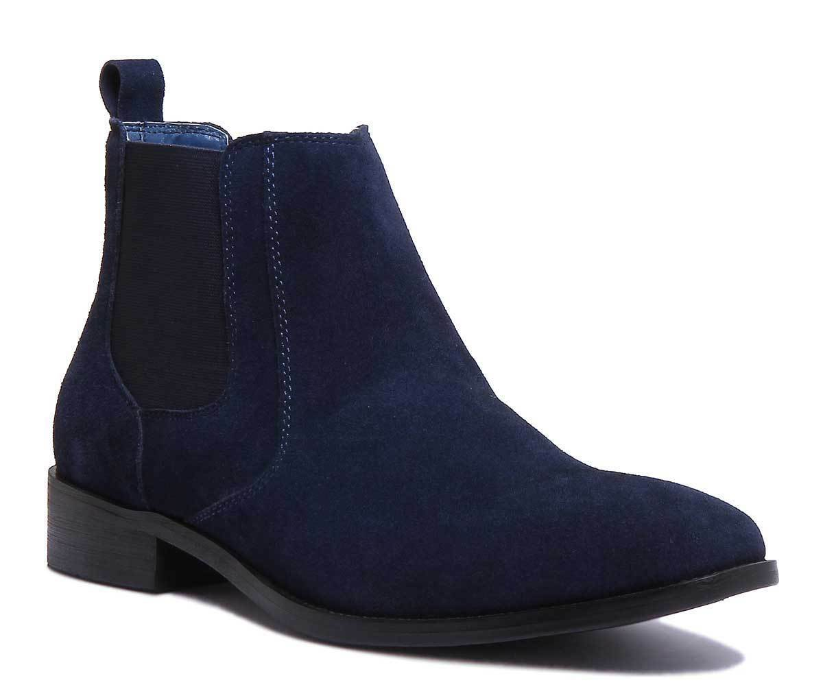 Justin Reece Leo Mens Navy Suede Leather Shoes Size UK 6 -12