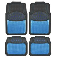 Metallic Rubber Floor Mats Blue For Car Suv Truck Black Trim To Fit 4 Piece on sale