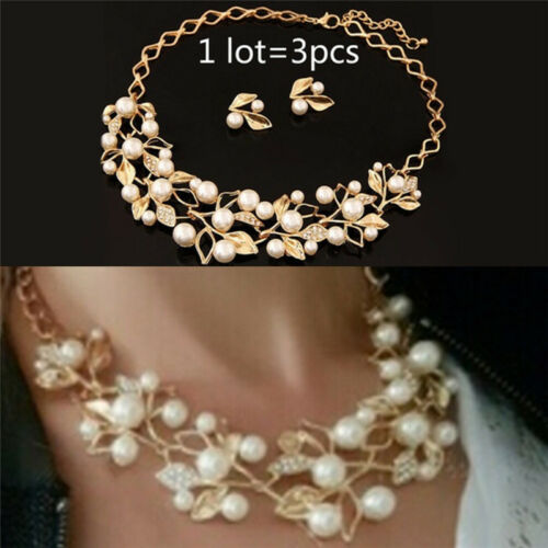 Pearls Crystal Tree Leaves Necklace Earring  Elegant Ladies Luxury Jewelry Se ga