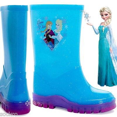 Girls Disney Frozen Wellington Boots Wellies Welly Sizes 6-12 Elsa Anna New Gift