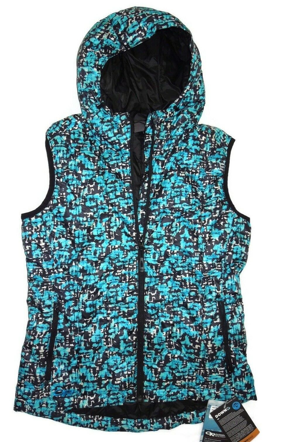Outdoor Research Aria 650 Down Down Down Alpine Lake Hooded Vest size Small bluee f912e9