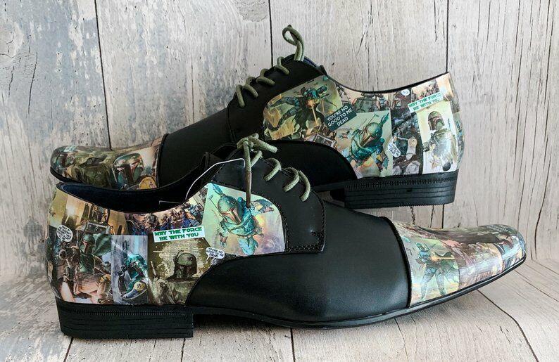 Los zapatos masculinos de Boba Fett Estrella Wars.Zapatos hechos a mano.Novio.Boda inglesa 7 - 11