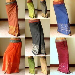 1171af9598f Thai Wrap Around Skirt Sarong Dress Cotton Maxi Skirt Long Skirts ...