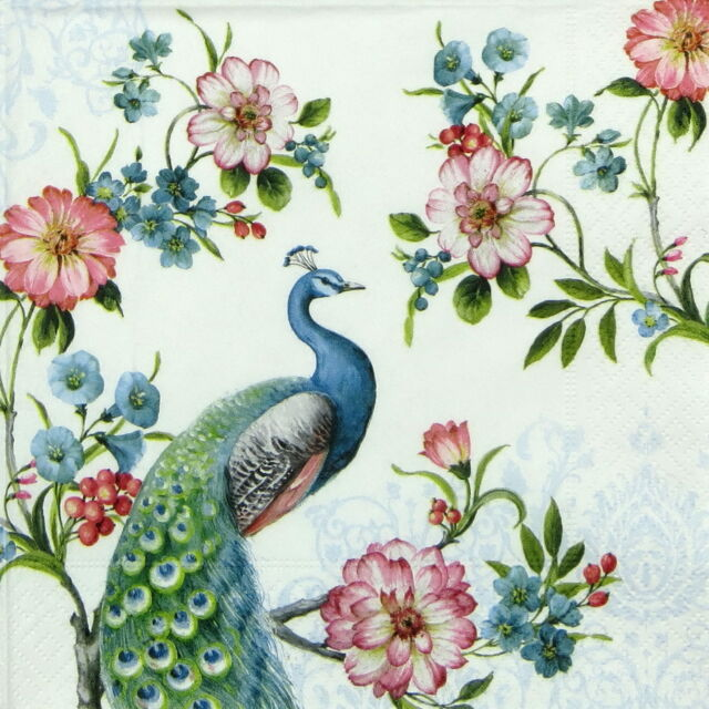 """4x Single Table Paper Napkins for Party, Decoupage, Craft """"Peacock"""