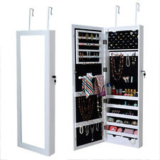 Lockable Wall Mount Mirrored Jewelry Cabinet Organizer Armoire w/ LED Lights New