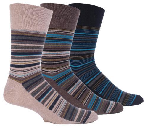 3 Pair Mens Gentle Grip Socks Non Elastic Soft Top Diabetic Fashion Uk 6-11