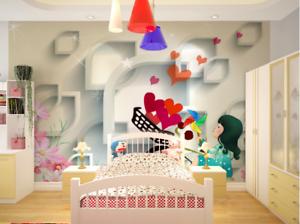 3D Karikatur bluemen Mädchen 78 Tapete Wandgemälde Tapeten Bild Familie DE Summer