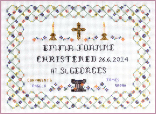 Christening Sampler Cross Stitch Kit on 14 aida with colour chart