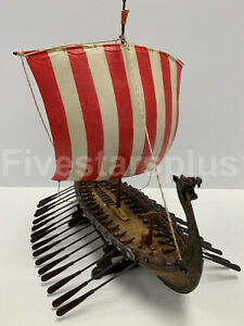 Details about VIKING SAIL BOAT WITH RED & WHITE STRIPE SAIL Norse