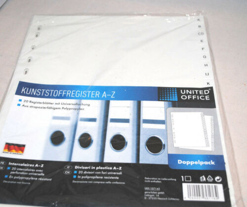 Registerblätter 2x1Satz a.20 Blatt Kunststoff Register 20teilig A-Z DIN A4 Weiß