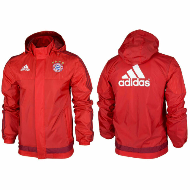 Adidas Men's FC Bayern Munich Licensed All Weather Full ZIP Hooded Jacket XS