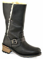 Ladies Womens Caterpillar Leather Warm Fur Lined Cowboy Mid Calf Boots Shoe Size