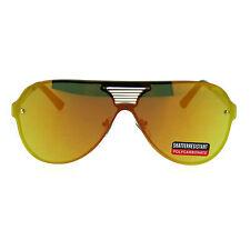 Mens Color Mirror Lens Futurism Robotic Shield Rimless Aviator Sunglasses