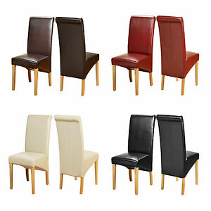 Strange Details About Pair Faux Leather Dining Chairs Modern Roll Top Scroll High Back Seat Oak Legs Pabps2019 Chair Design Images Pabps2019Com