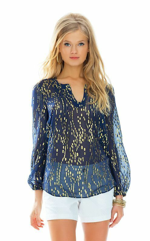 New Lilly Pulitzer COLBY TOP True Navy Bubble Clip Gold Dot Jacquard Blouse S