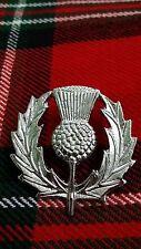 TC New Scottish Thistle Cap Badges/Glengarry Hat Badge Pin Silver Chrome Finish