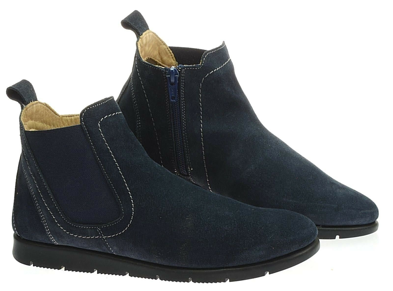 DARKWOOD botas azul 7058 W 065Ü 065Ü 065Ü ORIGINAL de Marina de guerra real cuero zip bbda80