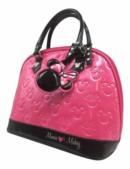082734d067a6 Disney Minnie Mouse Loves Mickey Pink Patent Embossed Bag Loungefly ...