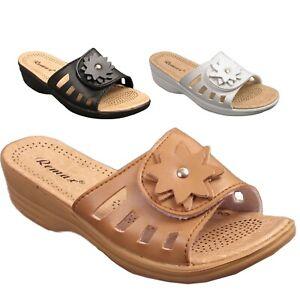 Ladies-Womens-Flip-Flops-Slip-On-Casual-Low-Wedge-Summer-Beach-Sandals-Mules