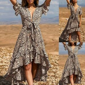 Sexy-Women-Fashion-Leopard-Print-V-Neck-Short-Sleeve-Bow-Irregular-P-Beach-Dress