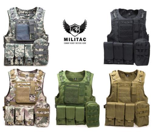 Veste tactique airsoft/paintball gilet/molle combat assaut gilet + mag pochettes