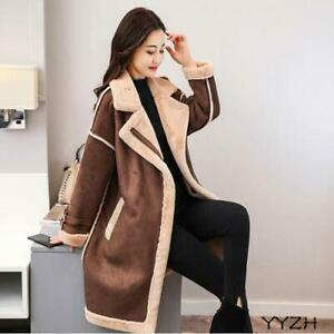 Womens Suede Faux Lamb Fur Lined Mid Long Jacket Thicken Causal Coat Parkas Chic