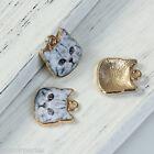 10pcs Pendentifs Breloque 3D Chat Gris Bijoux Accessoire Pr Collier 13x13mm