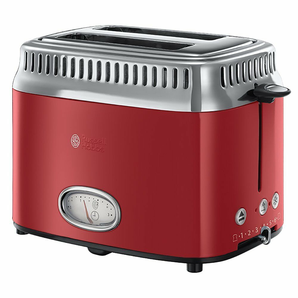 Russell Hobbs 21680-56 Retro Ribbon rouge Toaster nouveau OVP